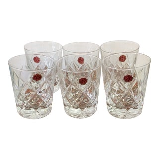 1930's Made in Italy Cut Crystal Whiskey Glasses in Original Florenzia Paper Box - Set of 6 For Sale