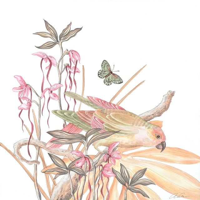 """""""A Little Bird Told Me"""" Tropical Chinoiserie by Allison Cosmos For Sale"""