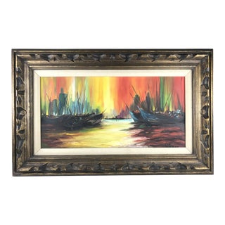 1960s Abstract Oil Painting on Canvas of Seascape Harbor Scene For Sale