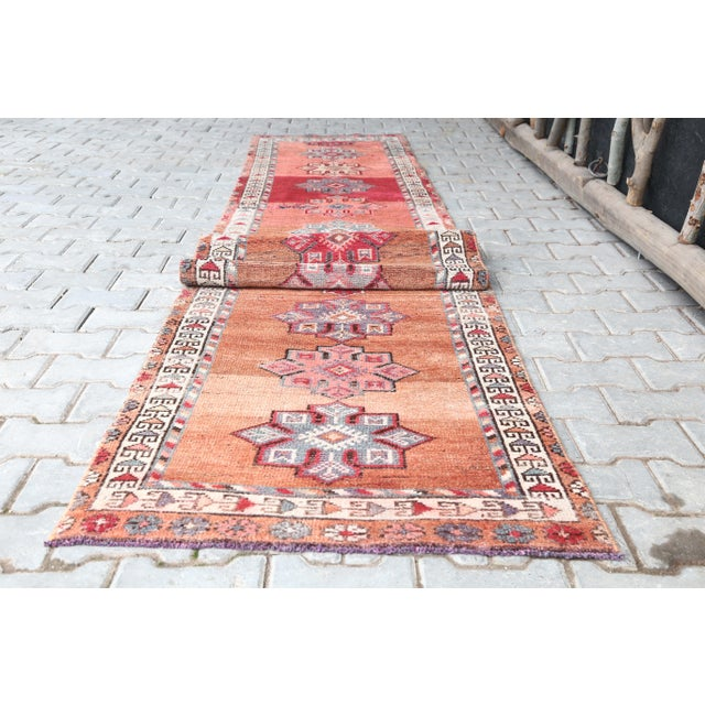 "1960's Vintage Turkish Hand-Knotted Long Runner Rug - 2'6"" X 13'8"" For Sale - Image 9 of 11"