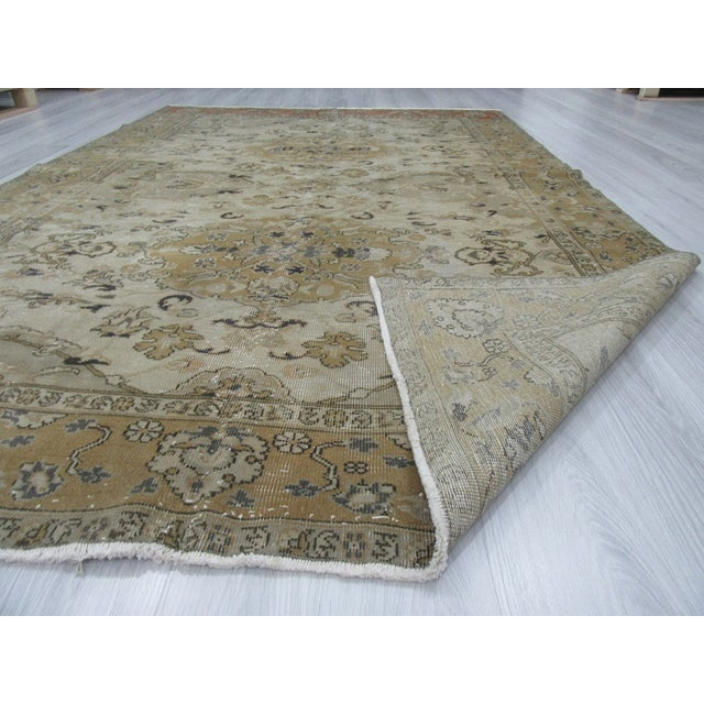 "Vintage Hand Knotted Turkish Area Rug - 6'5"" X 9'10"" - Image 6 of 6"