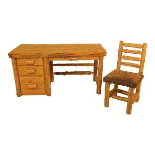 1990s Adirondack Style Pine Desk With Chair - 2 Pieces For Sale