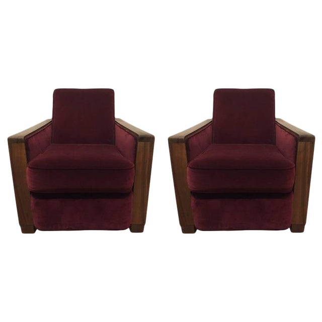 Pair Art Deco Club Chairs Attributed to Jacques Adnet For Sale