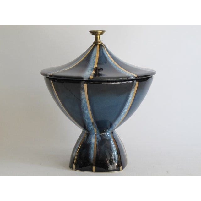 Navy & Gold Lidded Candy Dish - Image 4 of 5