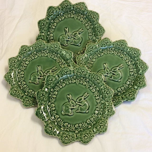 Ceramic Bordallo Pinheiro Green Majolica Cabbage Leaf With Bunnies Plates - Set of 4 For Sale - Image 7 of 7