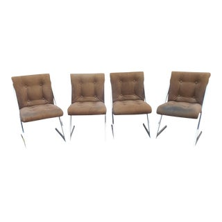 1970s Chrome Milo Baughman Style Dining Chairs- Set of 4 For Sale