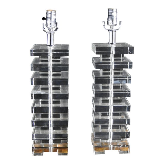 Mid Century Modern Glass Block Lamps - A Pair For Sale