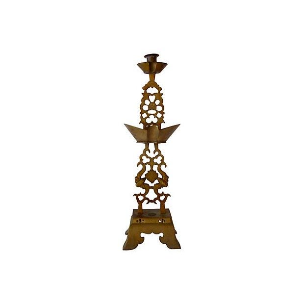 Brass Chinese Altar Candlestick Holder - Image 1 of 4