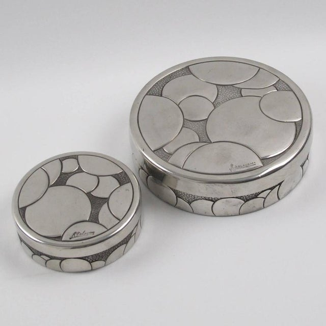 Art Deco French Rene Delavan Art Deco Dinanderie Polished Pewter Box, 2 Pieces For Sale - Image 3 of 11