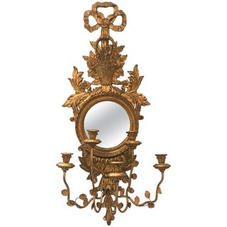 Italian Giltwood Mirror With Candle Sconce For Sale