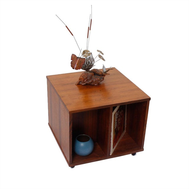Danish Modern Rosewood Rolling Book Caddy Table - Image 4 of 5