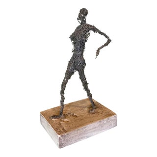 Wire Figurative Sculpture, Signed Kujawa, 1975 For Sale