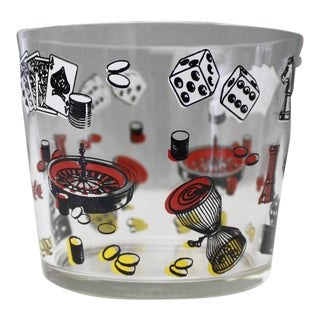Vintage Casino Ice Bucket Glass Gambling Poker Roulette Mid Century For Sale