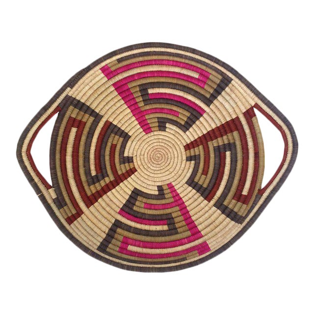 Woven Sisal African Tray For Sale