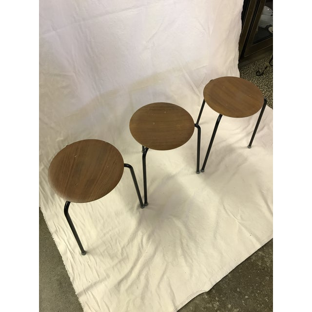 Danish Modern Danish Dot Stools in the Style of Arne Jacobsen - Set of 3 For Sale - Image 3 of 11