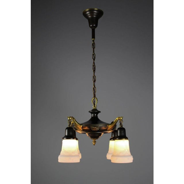 Two-Tone Colonial Revival Light Fixture (4-Light) - Image 3 of 8