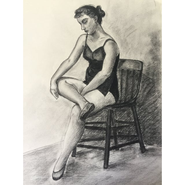 Original, vintage drawing of a seated ballet dancer. Signed lower right by V. Costello and dated 1949. Unframed.