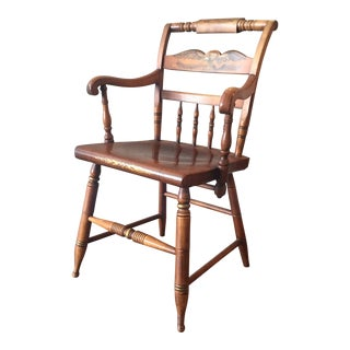 Antique L. Hitchcock Maple Eagle Armchair