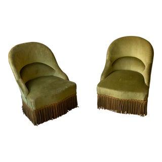 Pair of Napoleon III Green Velvet Slipper Chairs For Sale