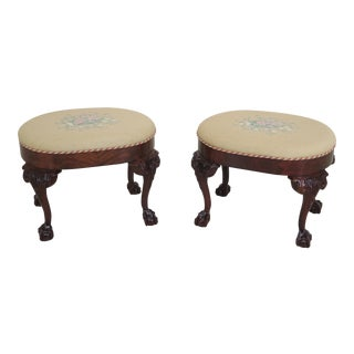 Southwood Ball & Claw Carved Mahogany Ottoman Stools - A Pair For Sale