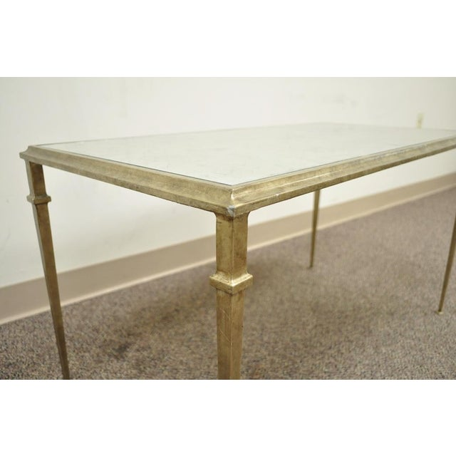 Neoclassical Style Gilt Metal Silver Leaf Mirror Top Coffee Table - Image 7 of 11