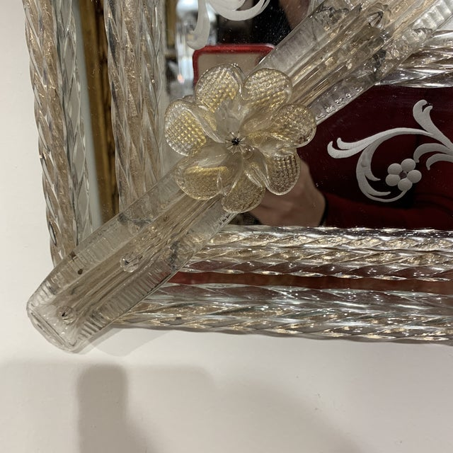 White Vintage Murano Mirror For Sale - Image 8 of 13