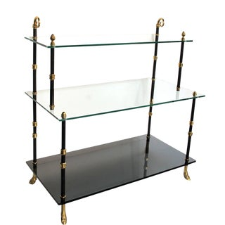 Good Quality French Three-Tiered Etagere With Glass Shelves by Maison Jansen For Sale
