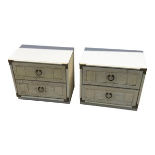 1960s Campaign Style Beige Nightstands - a Pair For Sale