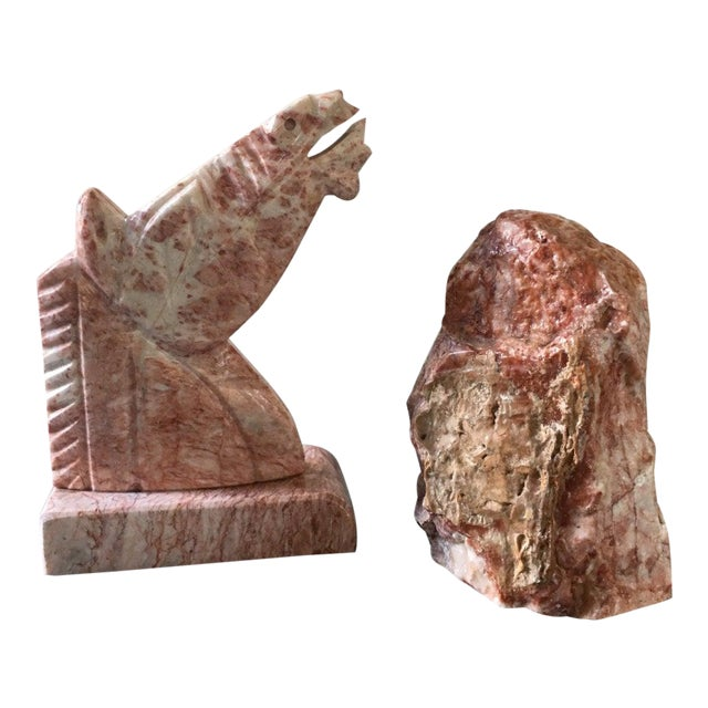 Vintage Large Pink Marble Horse Bookend Stone Bookends For Sale