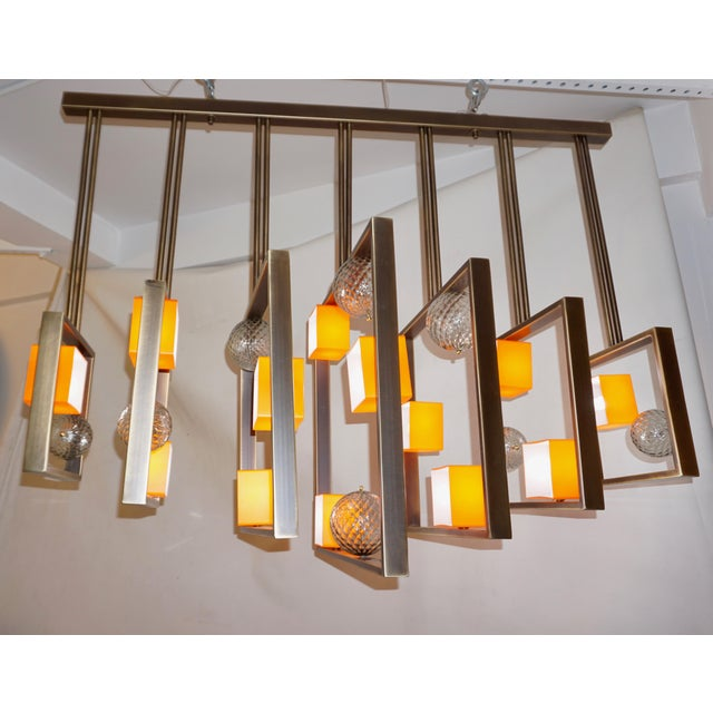 2010s Minimalist Bronze Brass Cubic Chandelier With Orange & White Murano Glass Cubes For Sale - Image 5 of 11