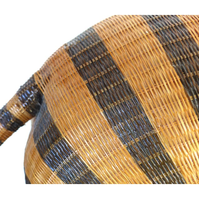 Chinese Woven Reed Zebra Trinket Box For Sale - Image 4 of 13