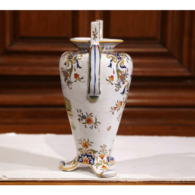 19th Century French Hand-Painted Ceramic Vase With Handles From Rouen Normandy For Sale - Image 4 of 11