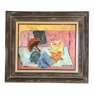 Vintage Original Modernist Still Life Painting Framed For Sale