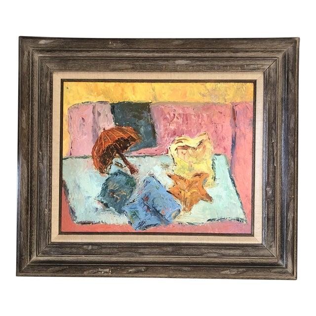 Vintage Original Modernist Still Life Painting Framed For Sale