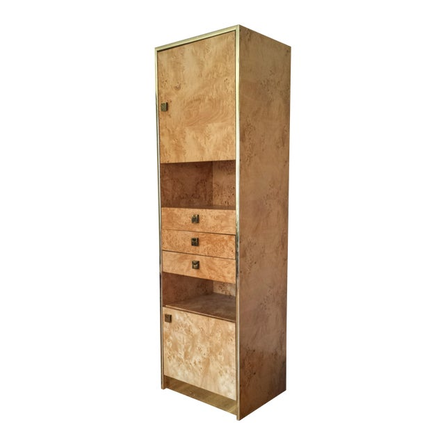 Founders Brass and Burl Storage Unit - Image 1 of 9