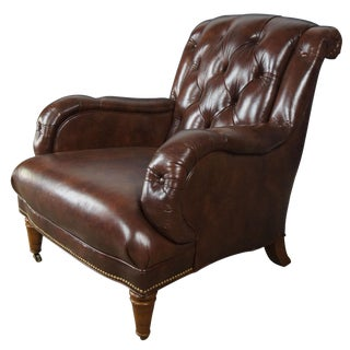 Century Furniture Brown Tufted Leather Easy Arm Chair For Sale