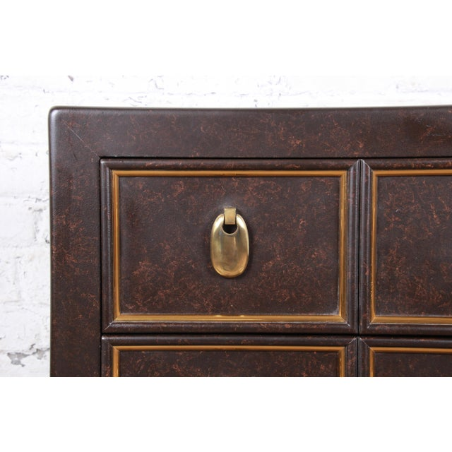 Brown Mastercraft Hollywood Regency Chinoiserie Faux Tortoise Shell and Brass Chest of Drawers For Sale - Image 8 of 13