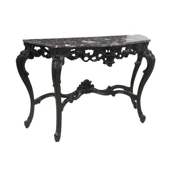 White Rococo Marble Demilune Table For Sale - Image 8 of 8