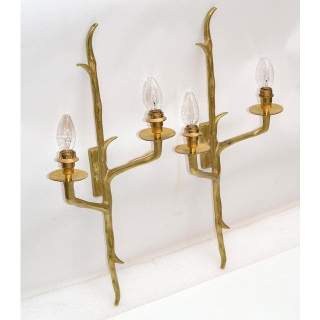 1950s Pair of Agostini Style Sconces Bronze With Black & Gold Shades, France 1950s For Sale - Image 5 of 13