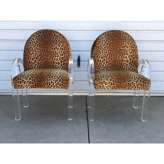 Fabric Charles Hollis Jones for Pace Leopard Print Waterfall Chairs - a Pair For Sale - Image 7 of 7