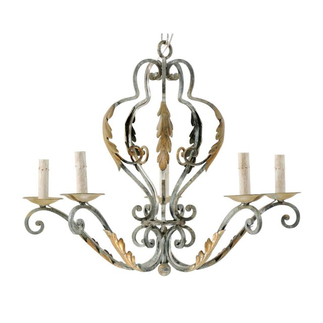 Gold French Five-Light Painted Iron Chandelier Featuring Lovely Acanthus Leaf Motifs For Sale - Image 8 of 8