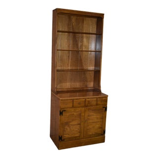 1980s Early American Ethan Allen 2 Piece Cabinet with Hutch For Sale