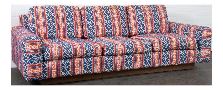 Modern Bohemian Upholstery And Walnut Base Floating Sofa