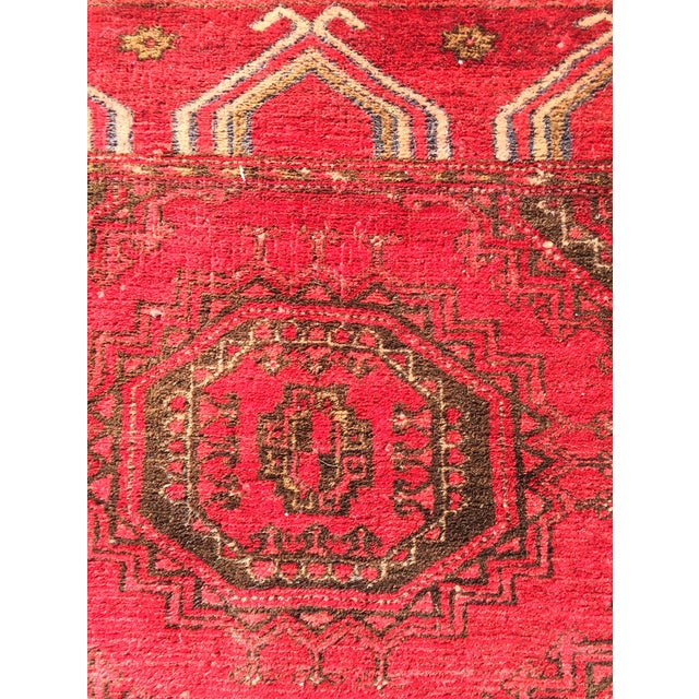 "Antique Turkaman Red Persian Rug - 1'10"" x 2'10"" - Image 6 of 7"