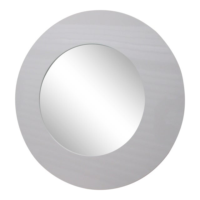 Round White Lacquer Mid Century Modern Style Mirror by Crate & Barrel For Sale