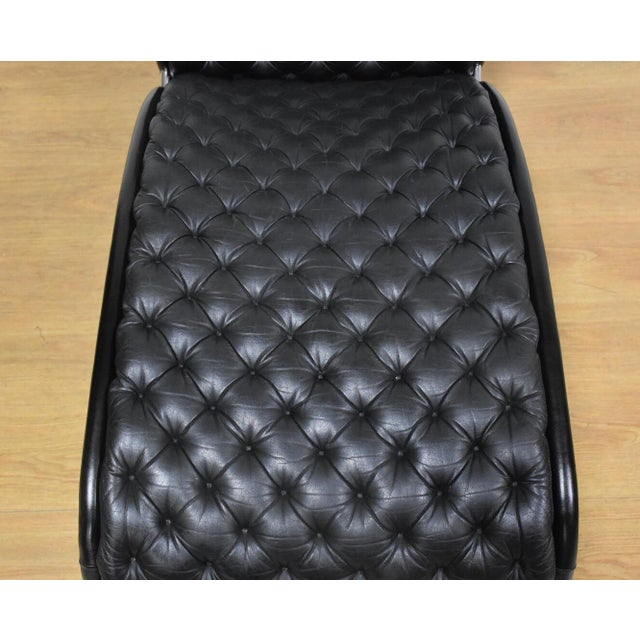 Fritz Hansen Verner Panton Black Leather Chaise Lounge For Sale - Image 4 of 11