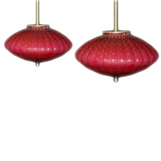 Vintage Murano Glass Hanging Lamps Pink For Sale