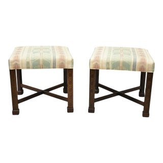 Ethan Allen Chinese Chippendale Style Mahogany Fretwork Square Stools - a Pair For Sale