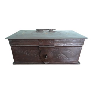 Antique Metal Box Riveted Hinged Lid For Sale