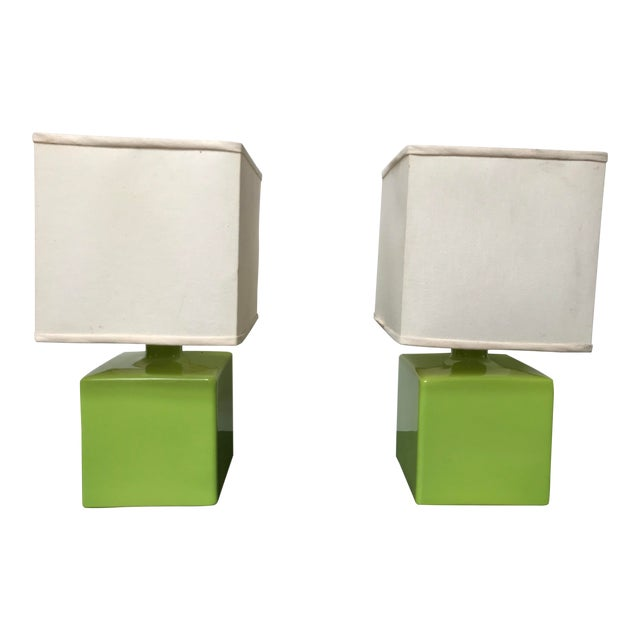 Mid Century Chartreuse Green Glaze Ceramic Table Lamps - a Pair For Sale